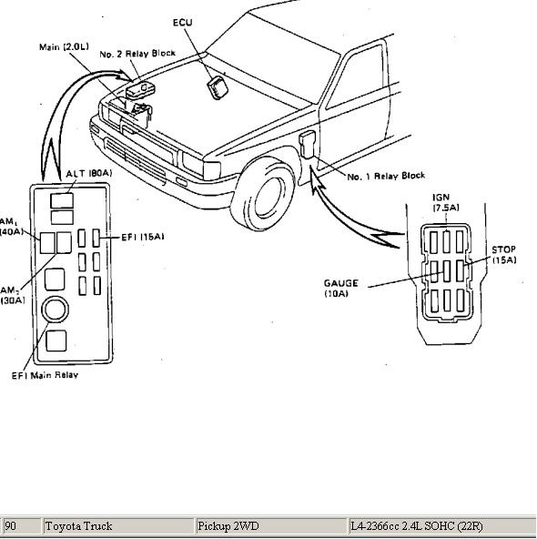 quema fucible de sistma efi toyota pikp 4 cilindros 1990